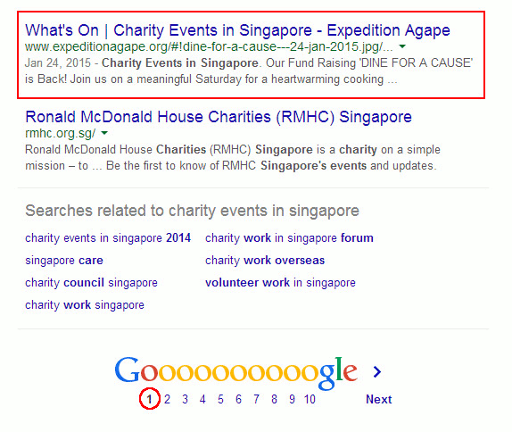 Digital Marketing Consultant Singapore - Portfolio - SEO - Expedition Agape Website Ranked on 1st Page of Google