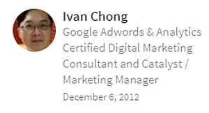 Digital Marketing Consultant Singapore - Testimonial - By Ivan Chong