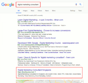 Digital Marketing Consultant Website Ranked Number One on Google Search Results