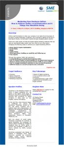 Digital Marketing Consultant - Talk at SME Centre at SICCI - email newsletter promoting event