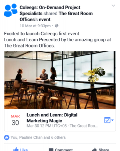Facebook Ad to Promote Lunch and Learn
